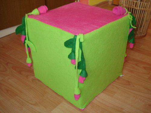 Sedací kostka zelená růžičková