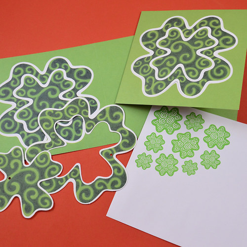 čtyřlístkové s ozdobama -5ks přání + obálky