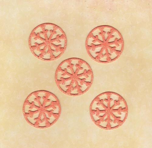 Vločky ze třpytivé pěnovky - oranžové (5 ks)
