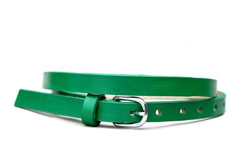 Kožený pásek úzký (zelená)