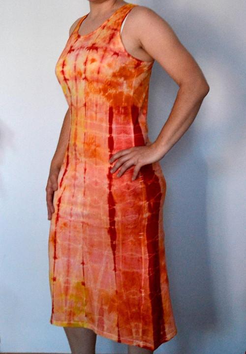 Žluto-oranž.-červené dámské batikované šaty XL/XXL
