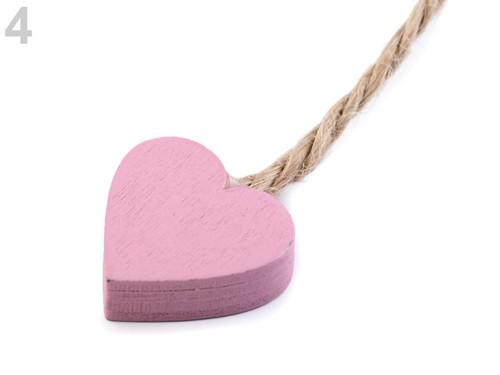 Dřevěné srdce - růžová (4ks)