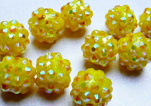 Discoball / Shamballa 12 mm - sytá žlutá / 1 ks