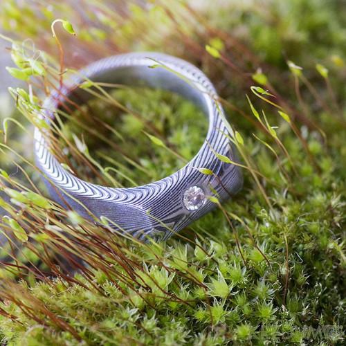 Damasteel zásnubní prsten Leila a diamant 2,7mm