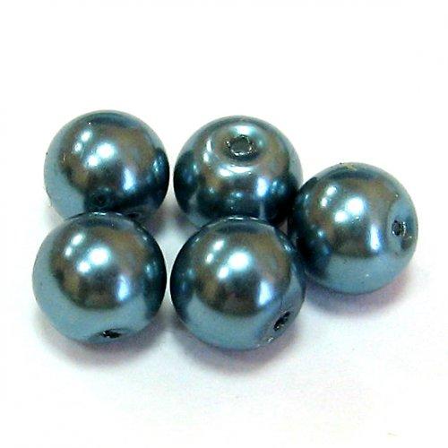 Perly voskové - 8 mm - modrá - 10 ks