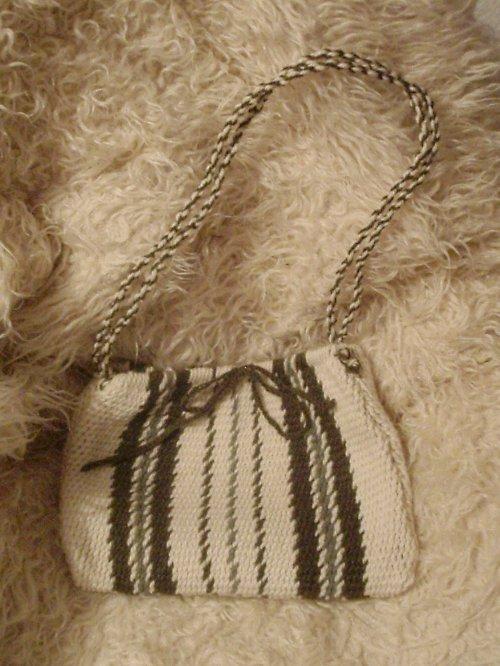 Pletená taška  Bílo - zelená