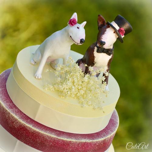 Figurky na svatební dort - bulteriér podle foto