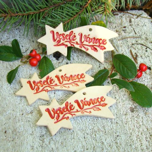 keramické ozdoby - kometa Veselé vánoce