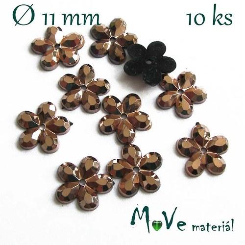 Květina plast Ø11mm našívací  10 ks hnědá