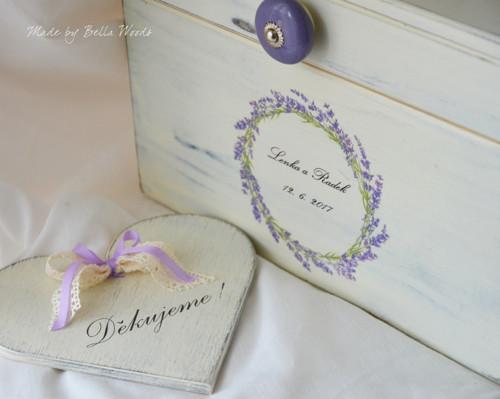 Svatební truhlička levandulová