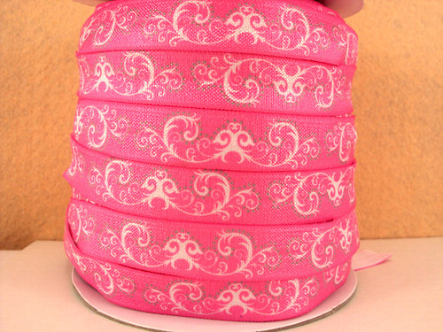 Pruženka/guma š. 16 mm: Ornamenty-růžová