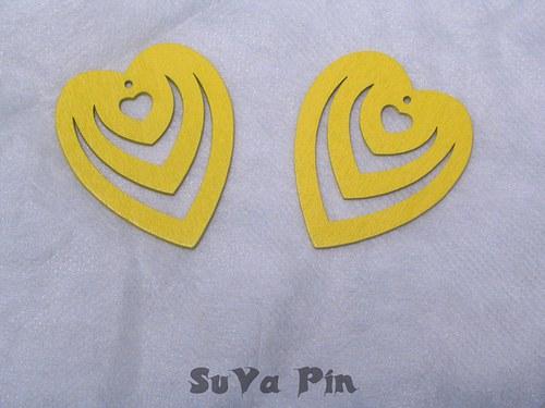 Srdce trojité žluté , 3 ks