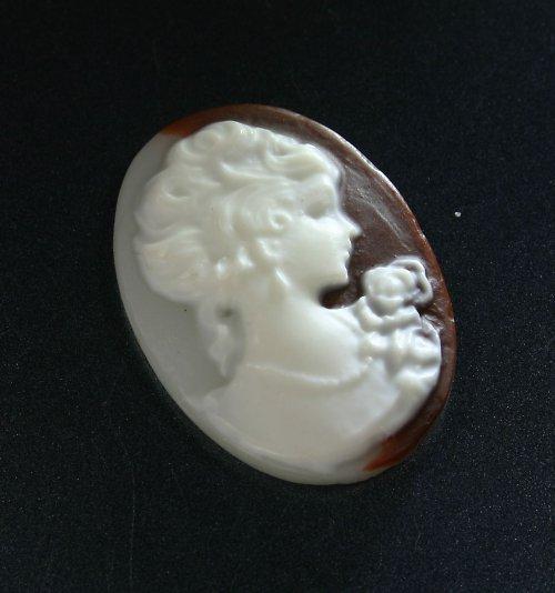 Kamej z pryskyřice - dáma na hnědé a bílé, 1 ks