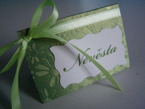 jmenovka na svatební stůl,zelená..
