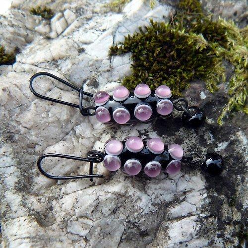 Náušnice okaté olivy - fialové (ametyst tmavý