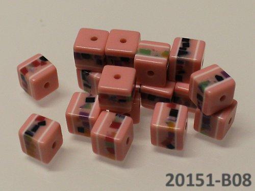 20151-B08 Korálky kostky mozaika RŮŽOVÉ bal.10ks