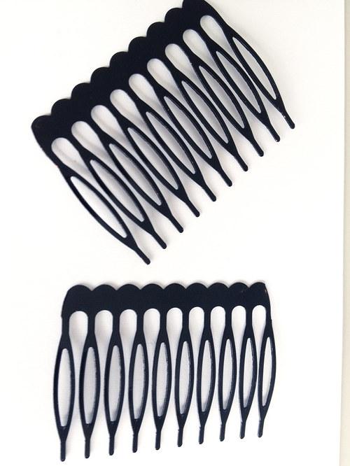 kovový hřebínek do vlasů, černý