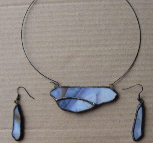 sada - přívěšek z opálového skla + naušnice