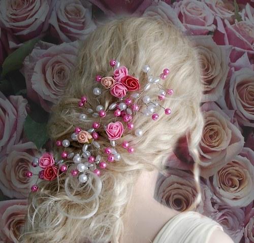 Svatební ozdoba do vlasů Claudine pink  roses