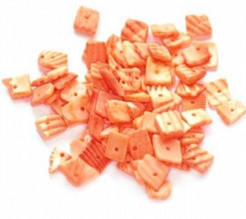 Korálky mušle 260g - řezané plátky, oranžová