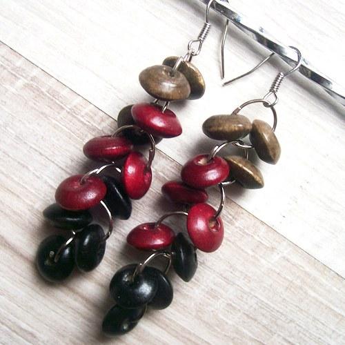 Lesní jahody-náušnioce ze dřeva_2420
