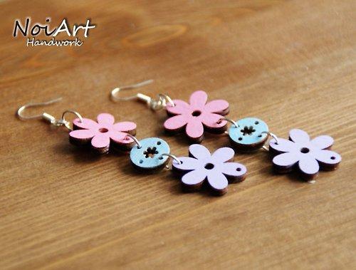 Kvetinky ružová-modrá-fialová