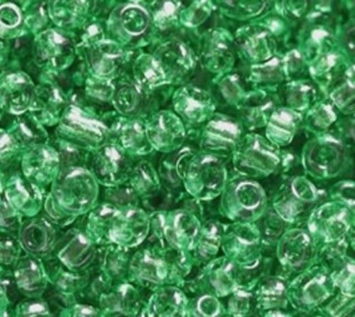 Korálky sklo 120g - zelená, průhledná 2mm