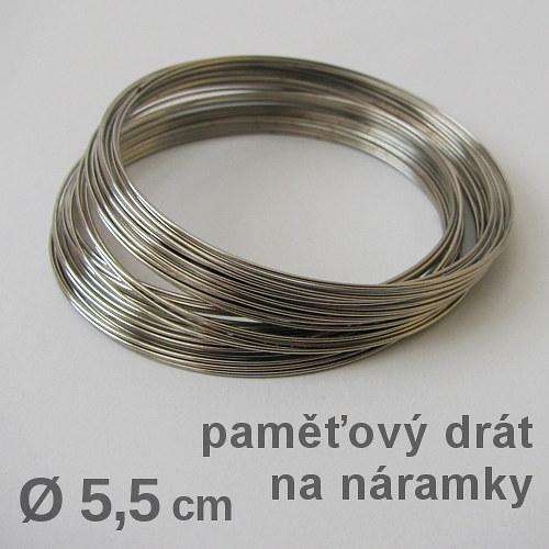 Paměťový drát na náramek, platina, Ø5,5cm