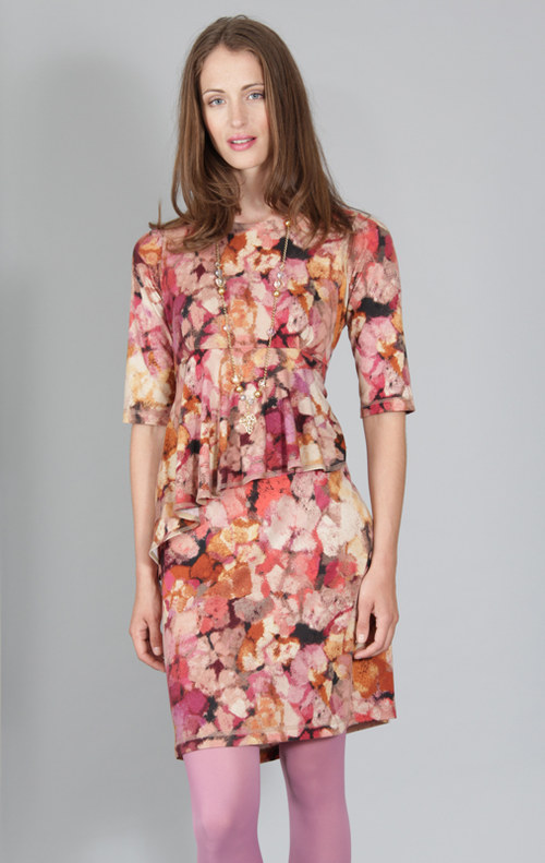 Šaty Hana - červený abstraktní vzor 0355