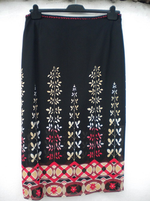 letní úzská potištěná sukně