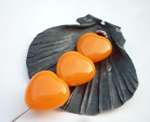 oranžová srdíčka 6  ks - 13 mm