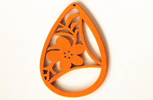 Dřevěné kapky- sytě oranžové