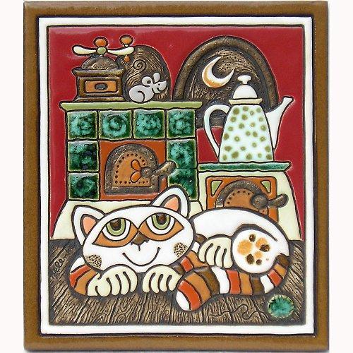 Keramický obrázek - Kočka a pec K-134-CE
