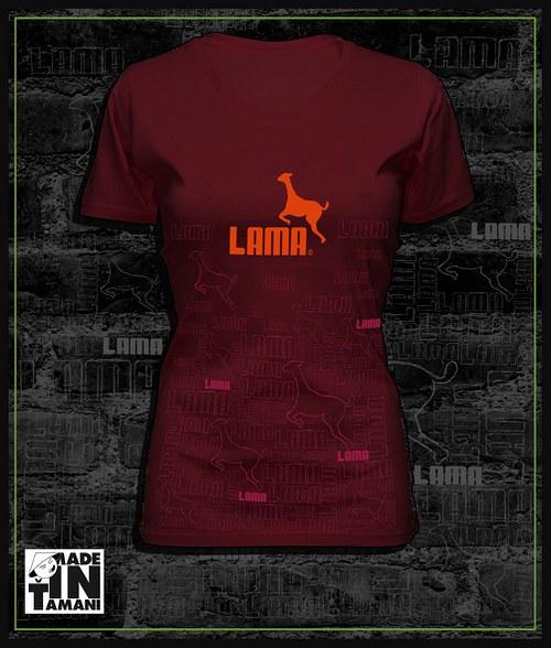 Dámské tričko vínové design Lama 11