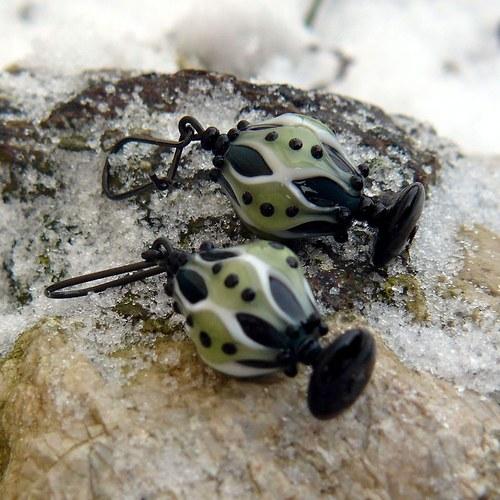 Náušnice fantasia - olivín
