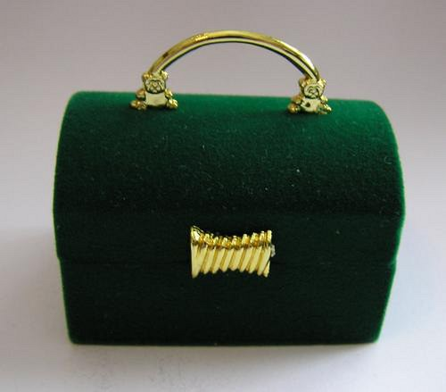 Sametová krabička na šperky - truhla zelená
