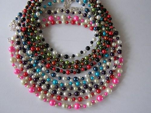 perličkový náhrdelník - perla 22barev - dvojlanko
