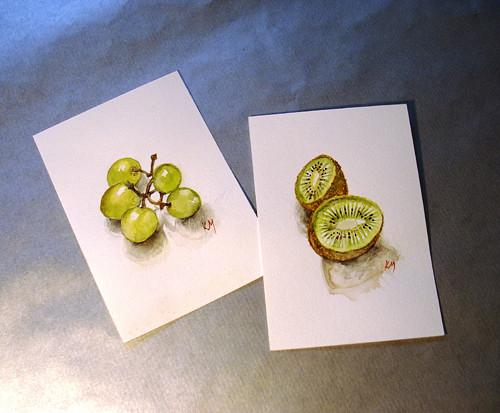 Akvarel s námětem ovoce na přání