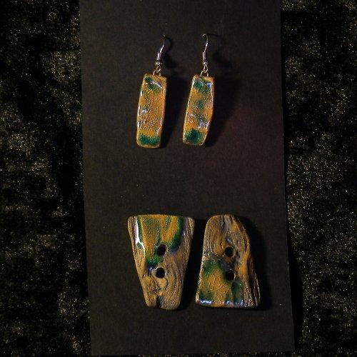 Autorská sada: keramické knoflíky s náušnicem