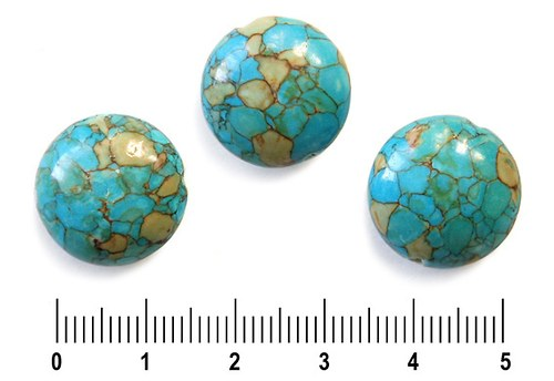 Tyrkenitová barvená čočka, 14 mm, 1 ks