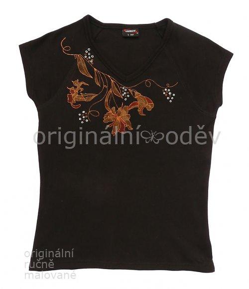 Malované tričko dámské - květy7 - černé