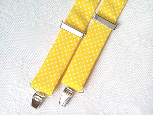 Suspenders (yellow/small white polka dots)