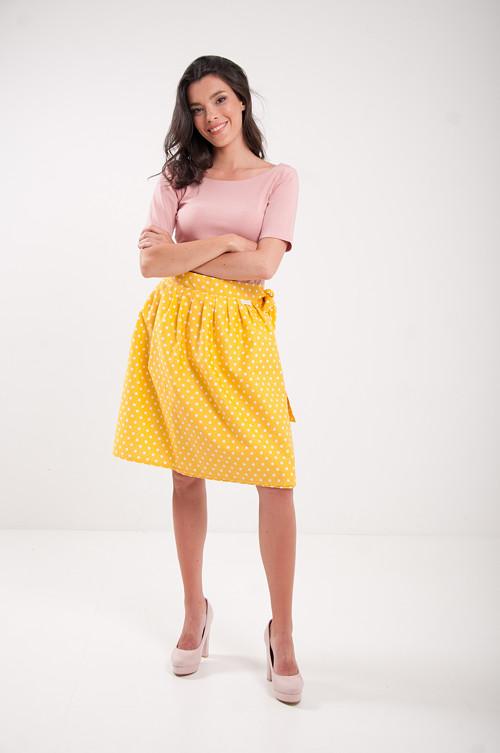 Zavinovací sukně RETRO puntíkatá žlutá