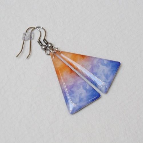 Náušnice - modrooranžové