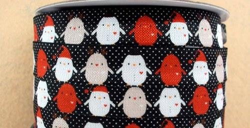 Pruženka/guma š. 16 mm: Ptáčci vánoční