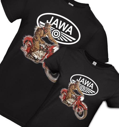 Pánske a dámske retro tričko JAWA - sada pre dvoch