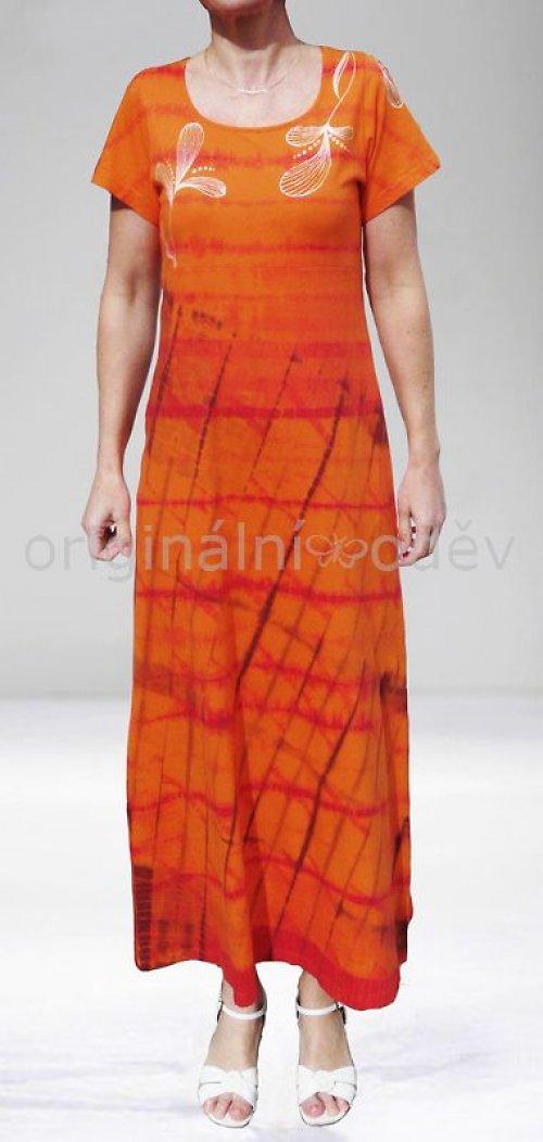 SLEVA: Batikované šaty - listy - oranžové
