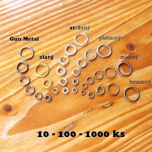 Kroužek 6mm - 10ks - Platinový