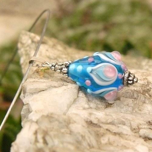 Modrá slza - vinutá perle