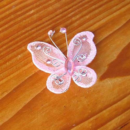 Organzový Motýlek - Růžový